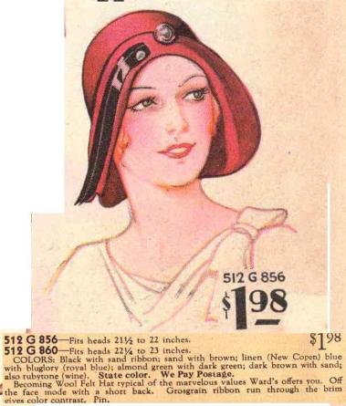 A Cloche hat advertisement from the early 1930s