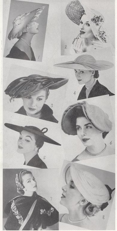 1. Shell and cabochon motif cartwheel sailor. 2. Crimson Lilac Satin and Straw profile hat. 3. Shantung straw profile hat. 4. Wide sided portrait hat. 5. Giant sailor with shallow crown.  6. Heart shaped beret. 7. Straw bouclé with three dimension trim. 8. Oval Plateau hat.