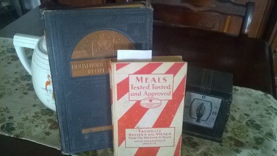 Vintage cook books can be found anywhere, Thrift stores and antique stores..and usually pretty cheap.