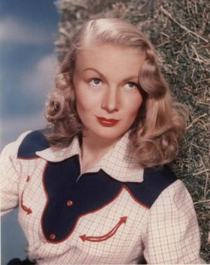 Most famous for her Peek-a-boo hairstyle, and glamourous evening gowns, Veronica Lake was also fond of western wear.